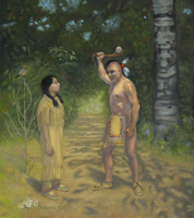 Tekakwitha Threatened by a Warrior - 1676